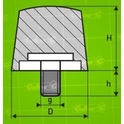Silentblok FD - D25 - H17 - M4/10mm