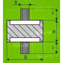 Silentblok A - D10 - H30 - M5/15mm