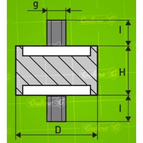 Silentblok A - D50 - H37 - M12/20mm