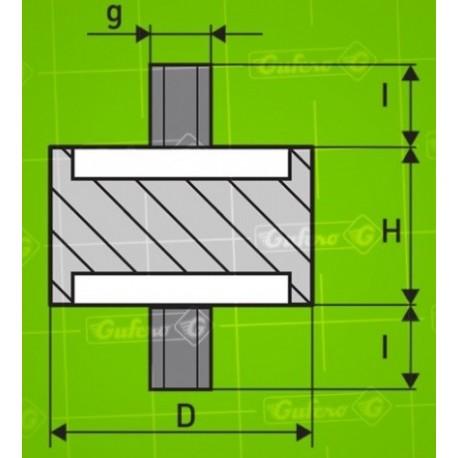 Silentblok A - D70 - H20 - M10/15mm