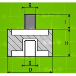 Silentblok B - D10 - H30 - M3/4mm x M3