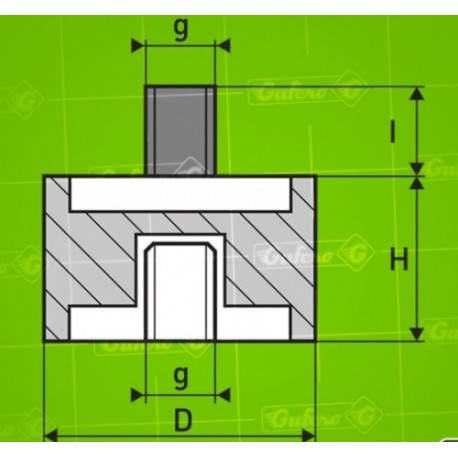Silentblok B - D12 - H13,5 - M5/12mm x M5